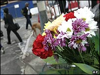Flowers left at King's Cross in memory of the bomb victims