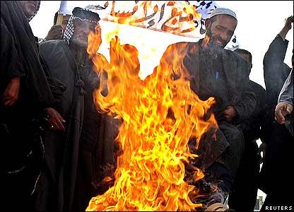 In the Iraqi capital, Baghdad, Shia clerics burned the Danish flag.