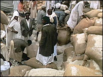 Unloading food aid in 1992 in the Horn of Africa