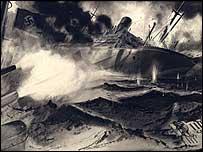 VC painting of Commander Fogarty Fegen's battle at Jervis Bay