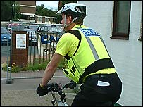 Policeman on bike outside Birmingham Central Mosque