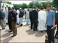 Worshippers outside Birmingham Central Mosque