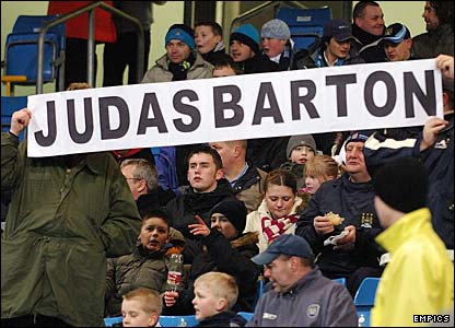 The City fans vent their anger at midfielder Joey Barton