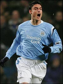 Albert Riera celebrates putting Manchester City ahead against Newcastle