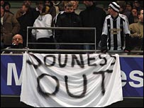 Newcastle fans vent their frustration against boss Souness