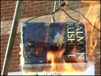 Burning copy of Satanic Verses