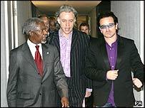 Kofi Annan, Bob Geldof and Bono