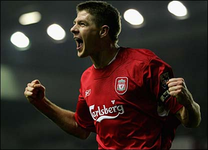 Steven Gerrard celebrates putting Liverpool in front at Anfield