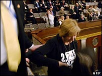 Cindy Sheehan being ejected from the Capitol