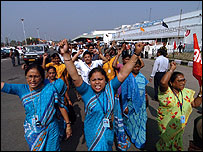 Striking airport workers in India