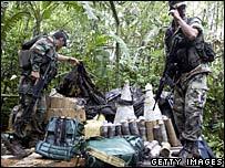 Ecuadorean soldiers at the alleged Farc camp