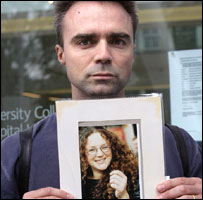 David Webb holds a picture of his missing sister Laura