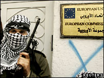A Palestinian gunman outside the EU office in Gaza