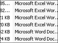 Screengrab of Word and Excel files, BBC