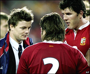 Brian O'Driscoll (left), Shane Byrne and Shane Horgan (right)