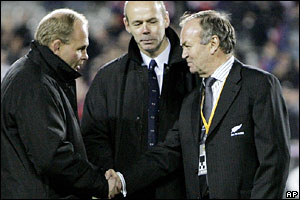 Andy Robinson (left), Graham Henry (right) and Sir Clive Woodward
