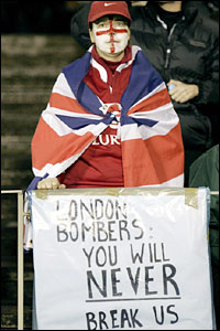A Lions supporter shows her solidarity with the victims of the London bomb attacks