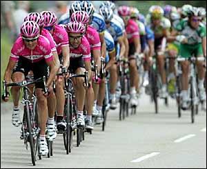 The T-Mobile team lead the peloton