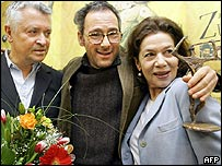 Dani Levy (C) and actors Henry Huebchen (L) and Hannelore Elsner