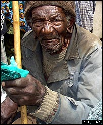 An elderly Kenyan man waits for the government's food aid distribution in Longonot on the Great Rift valley