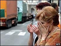Жители Сараево во время траурной церемонии