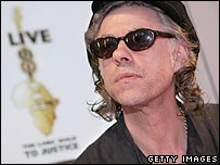 Sir Bob Geldof holding a press conference to present the Live 8 charity event 
