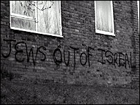 Anti-Semitic graffiti on a block of flats in Greater Manchester - courtesy of www.thecst.org.uk