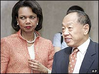 Condoleezza Rice and Chinese Foreign Minister Li Zhaoxing