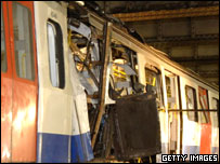 The train involved in the bomb attack at Aldgate tube station