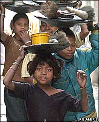 Migrated child labourers from the western Indian state of Maharashtra