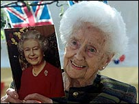 Ambrosine Nielsen from Jarrow in Tyne and Wear celebrates her 100th birthday in 2000