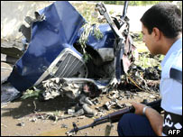 Remains of car driven by suicide bomber in Kirkuk