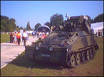A tank standing at Coopers Field