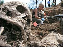 Exhumations at a mass grave near Srebrenica, Bosnia