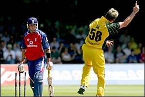 Pietersen plays on to his stumps as fast bowler Brett Lee celebrates his first wicket of the day
