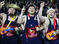 Lions fans enjoy themselves before the third Test