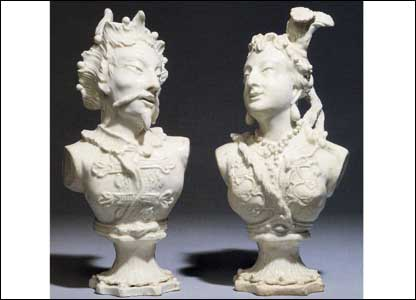 Pair of Bow white busts of Mongolians, c.1750, 27.5cm high, English Porcelain