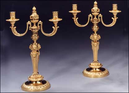 A rare and magnificent pair of Ormolu two-light 'lyon-faced' candelabra by Matthew Boulton, c.1772