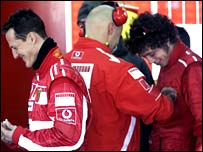 Michael Schumacher (left) and Valentino Rossi