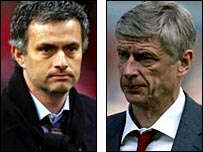 Chelsea boss Jose Mourinho (left) and Arsenal manager Arsene Wenger