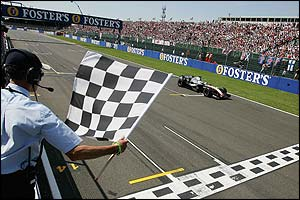 Juan Pablo Montoya crosses the finish line