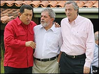 Hugo Ch�vez, Luiz Inacio Lula da Silva y N�stor Kirchner