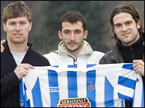 Lindsay Wilson, Giorgos Fotakis and Eric Skora arrive at Rugby Park