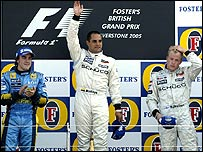 Left to right: Fernando Alonso, Juan Pablo Montoya and Kimi Raikkonen