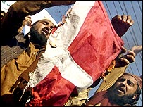 Pakistani protesters burn the Danish flag in Lahore