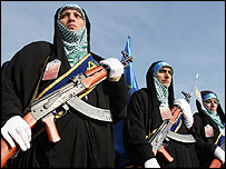 Women members of an Iranian militia rally in support their country's nuclear stance