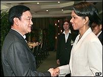US Secretary of State Condoleezza Rice  with Thai Prime Minister Thaksin Shinawatra