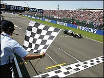 Juan Pablo Montoya crosses the finish line at Silverstone