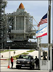 Discovery on the pad (AP)