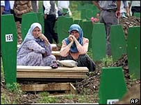 Muslim women gather at Potocari cemetery